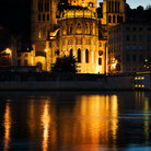 Picture - Evening view of Notre Dame de Fourviere Basilica and the St. Jean Cathedral in Lyons.