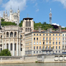 Picture - Notre Dame de Fourviere (1870) above & St Jean Cathedral (11th c Gothic with Romanesque apse) in Lyon.