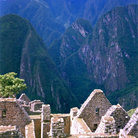Picture - View down to curved Temple of the Sun, Machu Picchu.