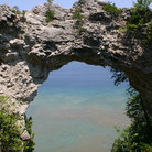 Picture - Stone archway on Mackinac Island.