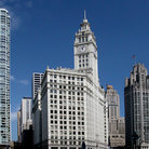 Picture - Looking north on Michigan Avenue from Chicago River with Wrigley Building on left & Tribune Tower on right.
