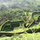 Picture - Ruins of the historical forts of Hindu King Shivaji in the Sahyadri Mountains.