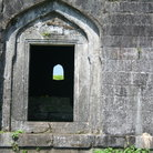 Picture - Stone doorway of a fort of Hindu King Shivaji in the Sahyadri Mountains.