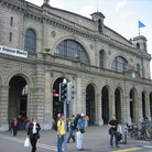 Picture - Commuters outside the main train station in Zurich.