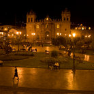 Picture - Night view over the Plaza de Armas, including the Cathedral, in Arequipa.