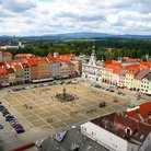 Picture - A bird's eye view over the huge main square in Ceske Budejovice.