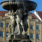 Picture - Detail of the statue in the main square in Ceske Budejovice.