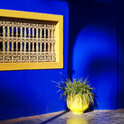 Picture - Colorful wall at the Majorelle Gardens in Marrakesh.
