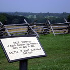 Picture - Fencing and plaque at Manassas National Battlefield.