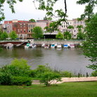 Picture - View of Manistee over the Michigan River.