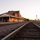 Picture - Tracks in front of the Mankato Train Depot.