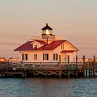 Picture - Sunset at the Roanoke Marshes Lighthouse at Manteo.
