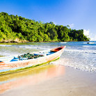 Picture - A boat on the beach at Maracas Bay.