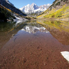 Picture - Maroon Bells and reflection, Aspen.