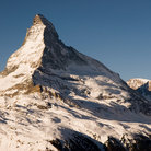 Picture - Clear blue sky over the Matterhorn.