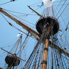 Picture - Rigging and crow's nest on the Mayflower II reproduction in Plymouth, MA.