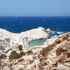 Picture - The sheltered Sarakiniko beach on Milos.