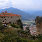 Picture - Though this Meteora monastery is accessed by stair, pilgrims once had to be raised up the cliff in a basket to enter others.