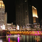 Picture - Chicago River Bridge over Michigan Avenue at night.