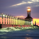 Picture - Sunset at the Michigan City Lighthouse, Michigan City.