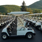 Picture - Golf carts at Wasatch Mountain State Park Golf Course in Midway, Utah.
