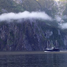 Picture - A tour boat on Milford Sound.