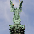 Picture - Millennium Monument topped by statue of Archangel (Varosliget) at Hosok Tere, Budapest.