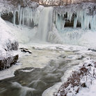 Picture - Ice hanging on the Minnehaha Falls and river, Minneapolis.