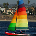 Picture - A colorful yacht on Mission Bay, San Diego.
