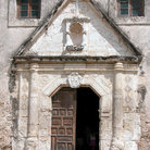 Picture - Entrance to cathedral in in San Antonio Missions National Historic Park.