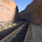 Picture - Railroad tracks through a canyon near Moab.