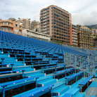 Picture - Blue bleachers to watch the Formula 1 in Monaco.