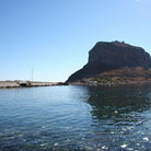 Picture - View of fortified rock as seen from causeway approach in Monemvasia.