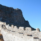 Picture - Rock of Monemvasia, fortified by Byzantines which fell to Franks in 1248 after three year siege.