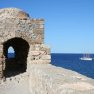Picture - Stone fortification by the sea at Monemvassia.