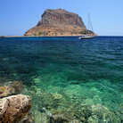 Picture - The mountain of Monemvasia seen from the water.