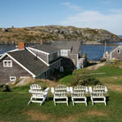 Picture - View over buildings and the landscape of Monhegan Island.