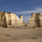 Picture - Limestone columns and cliffs at Monument Rocks.