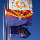 Picture - Flags of Utah, Arizona and Navajo Nation at Monument Valley Visitor Center, Utah.