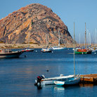 Picture - Boats anchored in front of Morro Rock.