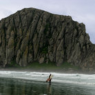 Picture - A surfer in front of Morrow Rock.