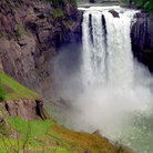 Picture - Water roaring over Snoqualmie Falls.