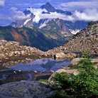 Picture - Snow covered Mount Shuksan in Mount Baker-Snoqualmie National Forest.
