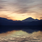 Picture - Sunrise over Mount Baker with lake in front.