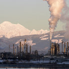 Picture - An oil refinery in operation near Mount Baker in Washington.