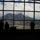 Picture - Visitors observing Mount St Helens, Washington.