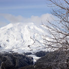 Picture - Snow covered Mount St Helens volcano.