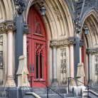 Picture - Gothic entrance of the Mount Vernon Place Methodist Church in Baltimore.