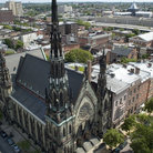 Picture - Aerial view of the United Methodist Church, with its grand spire, in Baltimore.