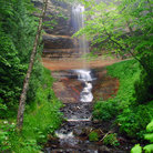 Picture - Munising Falls in the summer.